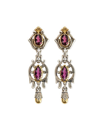 Silver & 18k Gold Rhodolite Dangle Earrings