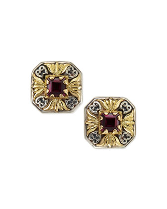 Silver & 18k Gold Rhodolite Stud Earrings