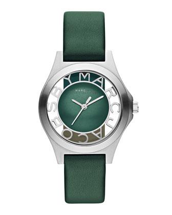 34mm Henry Skeleton Watch, Green