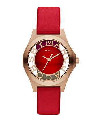 34mm Henry Skeleton Watch, Red
