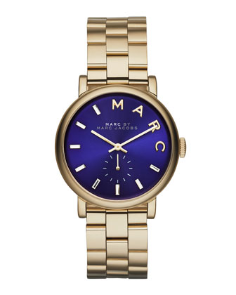 36mm Baker Bracelet Watch, Golden/Blue