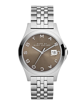 36mm The Slim Bracelet Watch, Steel/Dirty Martini
