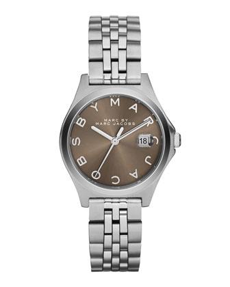 30mm The Slim Bracelet Watch, Steel/Dirty Martini
