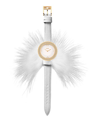 Fendi My Way Watch with Removable Fur Glamy, White