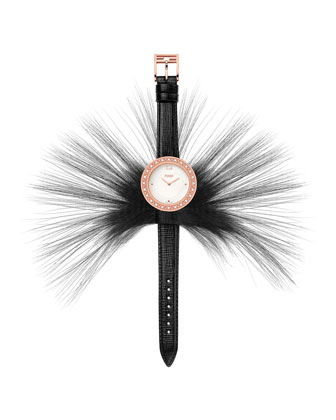 Fendi My Way Watch with Removable Fur Glamy, Black/Rose