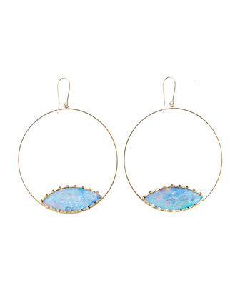 Frosted 14k Gold Boulder Opal Eclipse Earrings