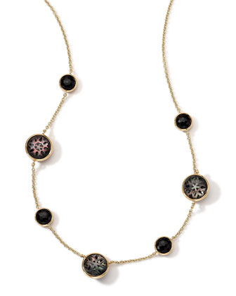 18K Gold Polished Rock Candy Cutout Stone 7-Station Necklace in Phantom, ...