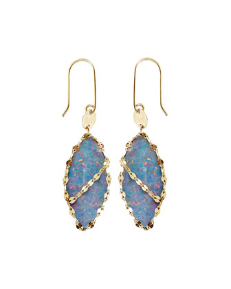 Frosted 14k Marquise Opal Drop Earrings