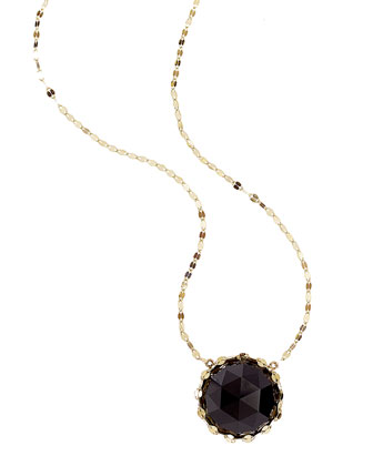 Noir 14k Gold Necklace with Rose-Cut Onyx Pendant