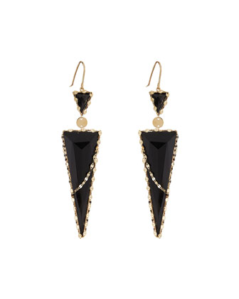 Frosted 14k Black Onyx Drop Earrings