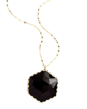 Dusk 14k Gold Necklace with Rose-Cut Onyx Pendant, 30