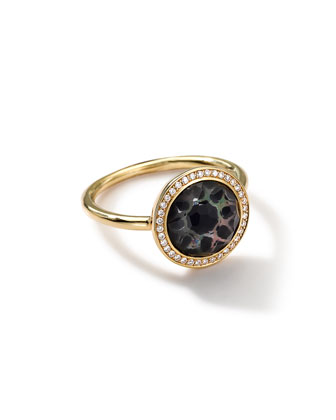 18K Gold Polished Rock Candy Small Round Ring in Phantom with Diamonds ...