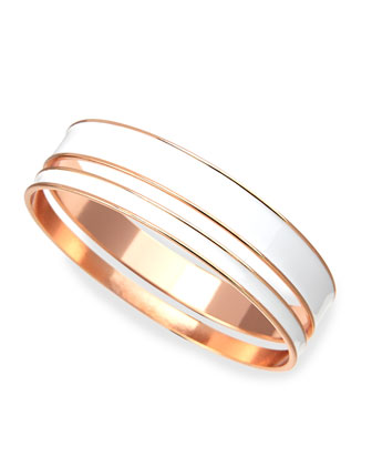 Two-Piece Channel Bangle Set, White/Rose
