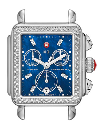 Deco Diamond Blue Dial Watch Head & 18mm Patent Strap
