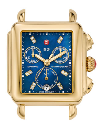 Deco Diamond Watch Head, Blue/Gold