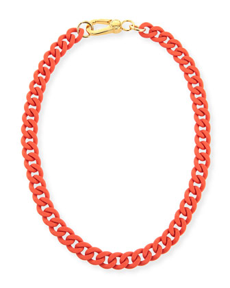 Rubber Chain Necklace, Orange