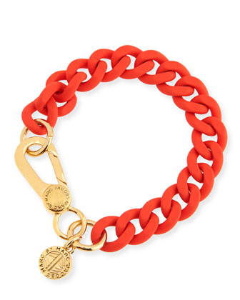 Rubber Curb Chain Bracelet, Orange