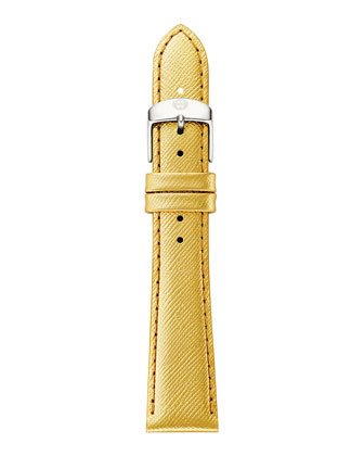Deco 16 Two-Tone 18-Diamond Watch Head & 16mm Metallic Saffiano Strap