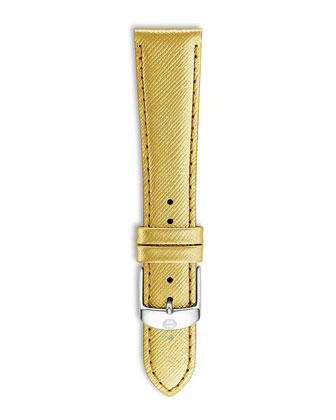 20mm Metallic Saffiano Leather Strap, Gold