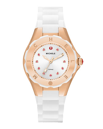 Tahitian Jelly Bean Petite Carousel Watch, White/Rose