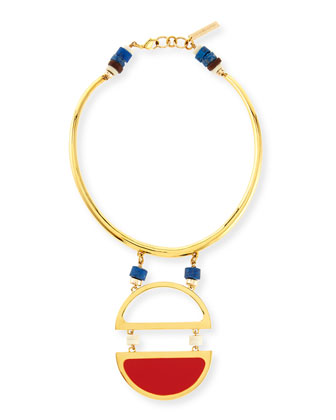 Dresser Medallion Collar Necklace, Red
