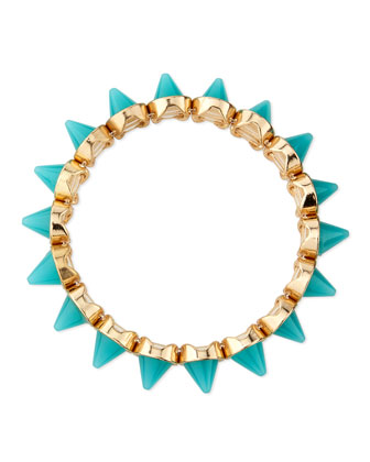 Mini Spike Stretch Bracelet, Turquoise