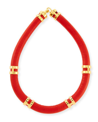Leather Double-Take Necklace, Red/Gold