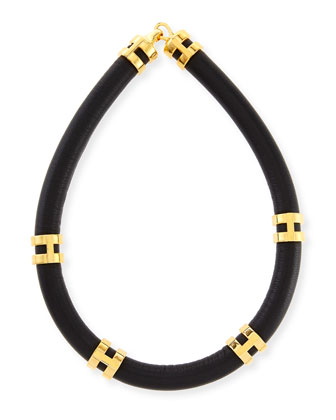 Leather Double-Take Necklace, Black/Gold