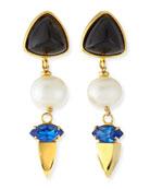Triple Drop Onyx, Pearl & Crystal Earrings