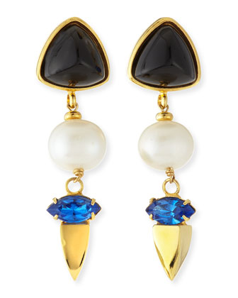 Triple Drop Onyx, Pearl & Crystal Earrings