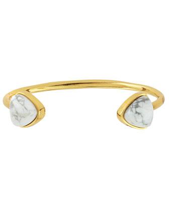 Inca 18k Gold-Plate Cuff Bracelet in Howlite