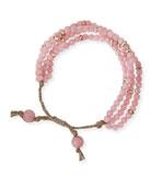 Rosy Multistrand Beaded Bracelet, Rose God