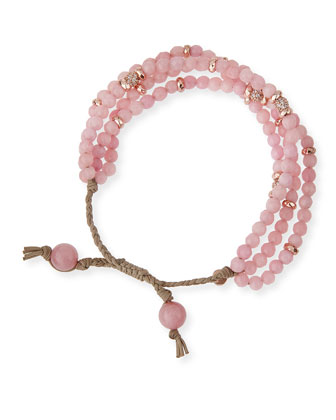 Rosy Multistrand Beaded Bracelet, Rose God