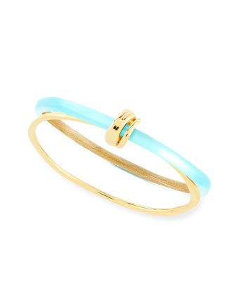 Vert d'Eau Liquid Metal Lucite Paired Bangle, Blue