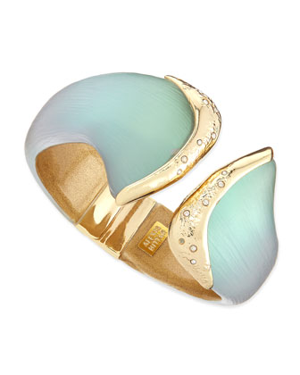 Vert d'Eau Metal-Capped Lucite Hinge Bangle