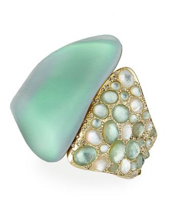 Vert d'Eau Lucite Side-Encrusted Hinge Bracelet