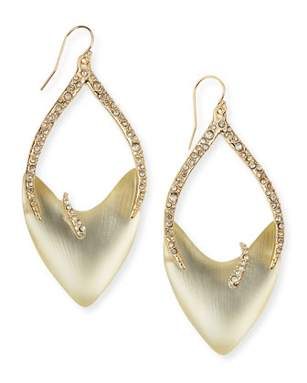 Vert d'Eau Tiger-Stripe Open-Drop Lucite Earrings