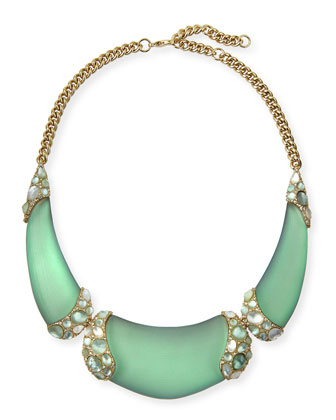 Vert d'Eau Three-Part Encrusted Lucite Bib Necklace