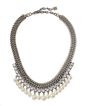 Serafina Pearly Crystal Chain Necklace