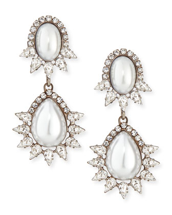 Penelope Simulated Pearl & Crystal Drop Earrings