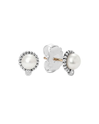Silver 5mm Pearl & Diamond Earrings