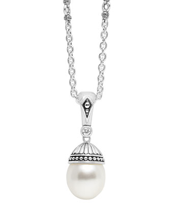 Luna Pearl & Diamond Pendant Necklace