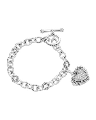 Silver Toggle Bracelet with Diamond Heart Charm