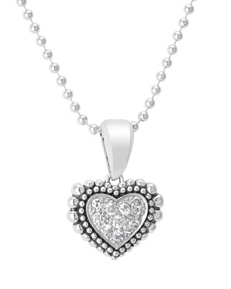 Caviar Heart Diamond Pendant Necklace