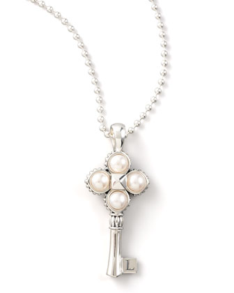 Silver Pearl-Key Pendant Necklace, 33