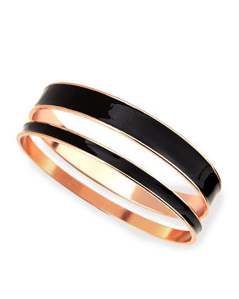 Two-Piece Channel Bangle Set, Black/Rose