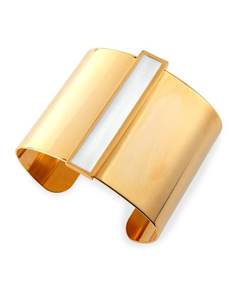 Enamel Channel Cuff Bracelet, White/Golden