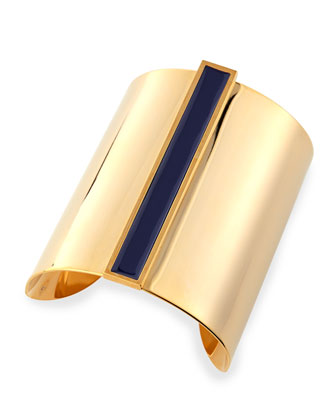 Enamel Channel Cuff Bracelet, Navy/Golden