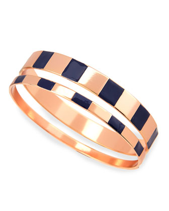 Enamel Step Bangles in Navy/Rose, Set of 2