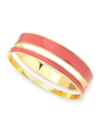 Two-Piece Channel Bangle Set, Pink/Golden